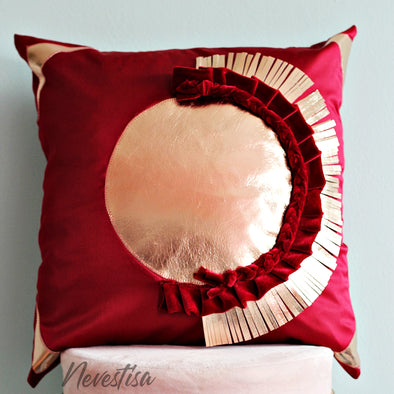 Tufted fringe, decorative, boho pillow pilow, Dusty Rose gold and burgundy Velvet Pillow 20 x 20 inch, red marron Velvet geometric Pink throw Pillow cover case, burgundy red Satin fringe macrame decorative pillow, nevestica design.