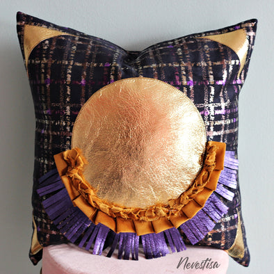 Tufted fringe, decorative, boho pillow pilow, violet and gold Velvet Pillow 20 x 20 inch, black Velvet geometric Pink throw Pillow cover case, Satin fringe macrame decorative pillow, nevestica design.
