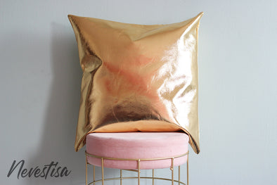 Gold genuine leather Pillow case cover 20 x 20 inch, rose gold blush nude pink gold throw Pillow cover decorative pillow, nevestica design. Available colors: gold, rose gold, silver, champagne gold, copper.