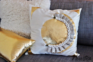 BEach home, circular Luxury pillow in neutral white and gold colors with rope and linen macrame design.  All hand made pillow