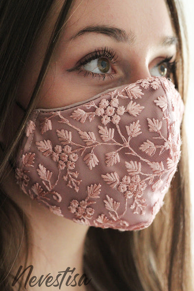 lace face mask, dusty pink, boho, wedding, cotton, blush pink