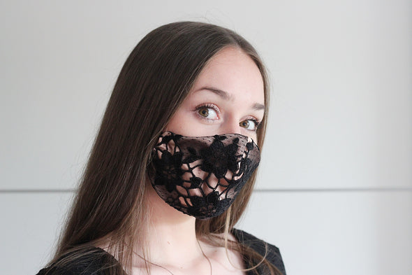 black lace and copper satin face mask, reusable cotton