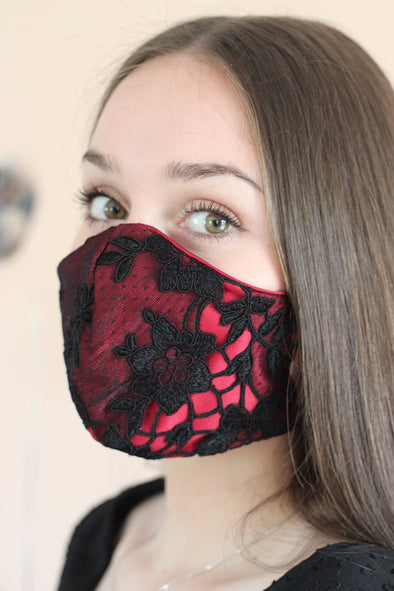 deep red satin cotton, washable face mask, with black lace