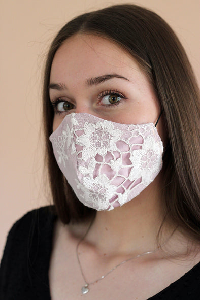 Light pink White lace Cotton Face mask reusable
