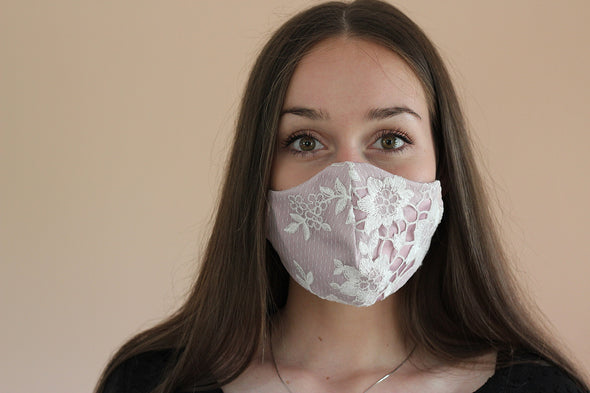 Light pink White lace Cotton Face mask reusable, washable