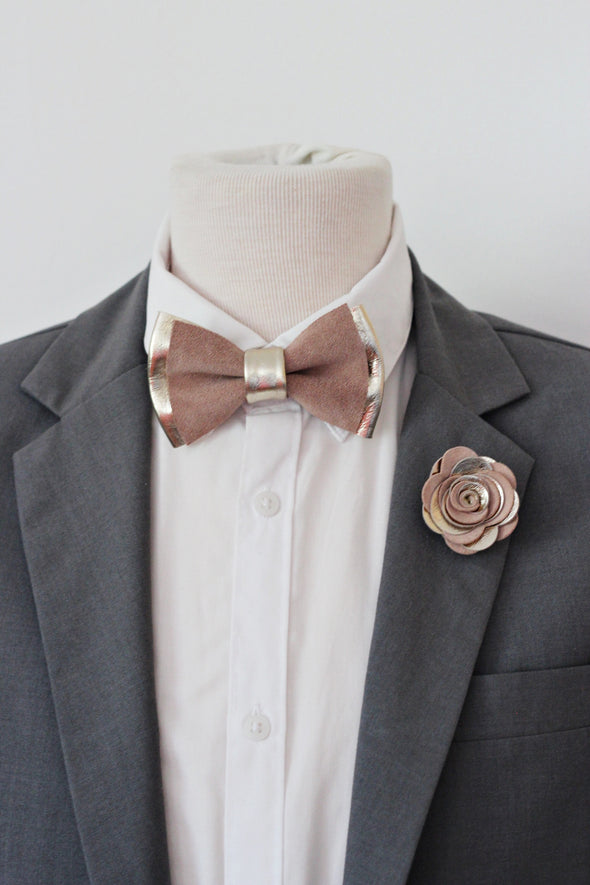 champagne gold and dusty rose pink natural taupe neutral boho wedding bow tie groom groomsmen men set pin flower boutonniere, prom corsage