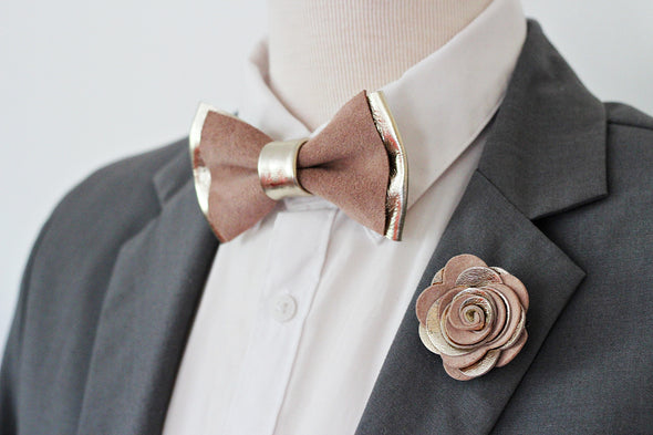 Champagne and dusty neutral boho leather bow tie set