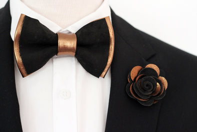 bronze copper black mens groomsmen bow tie set, wedding boutonniere, copper bowtie