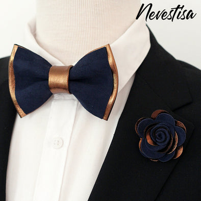 bronze copper navy blue mens groomsmen bow tie set, wedding boutonniere, copper bowtie