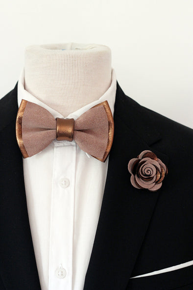 bronze copper taupe suede mens groomsmen bow tie set, wedding boutonniere, copper bowtie set, lapel flower bronze, copper,