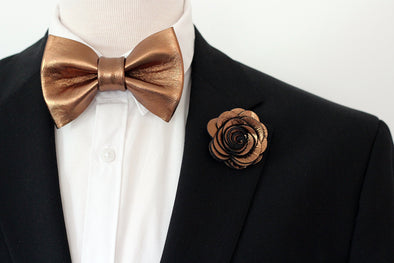 copper bronze bronw mens bow tie, wedding groomsmen bowtie set, boutonniere bronze, bronze lapel flower pin