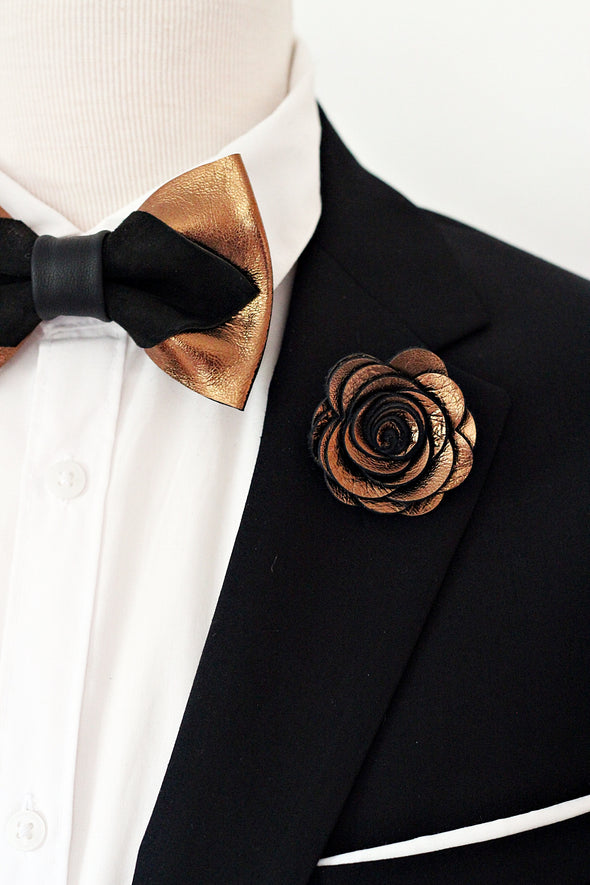 Bronze black mens leather bow tie set, brozne lapel flower pin, wedding boutonniere, groomsmen gift set, pointy bowtie