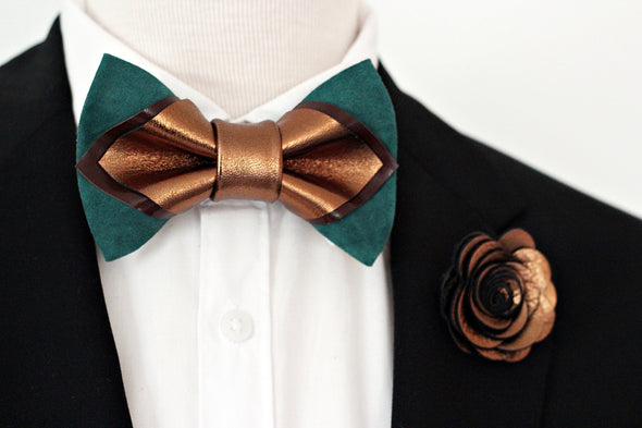 Bronze green emerald mens leather bow tie set, brozne lapel flower pin, wedding boutonniere, groomsmen gift set, pointed bowtie
