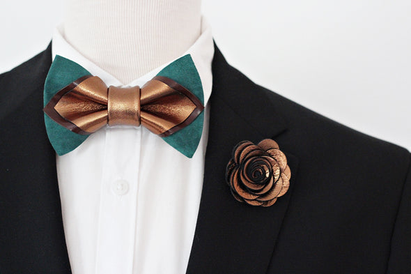 Bronze green emerald mens leather bow tie set, brozne lapel flower pin, wedding boutonniere, groomsmen gift set, copper pointed bowtie