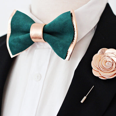 emerald green and rose gold mens groomsmen bow tie set, bowtie and lapel flower, rose gold boutonniere, sitck pin