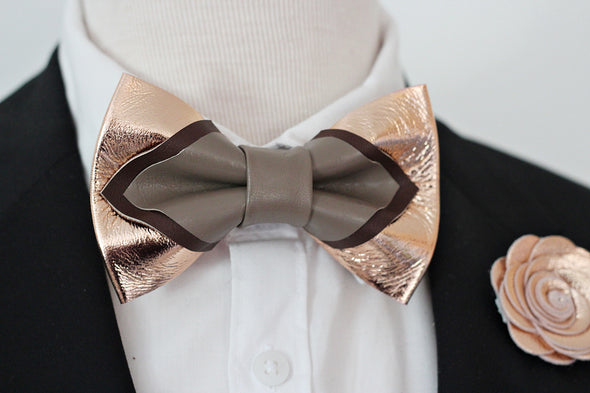 taupe rose gold mens groomsmen bow tie set, bowtie and lapel flower, rose gold boutonniere, sitck pin, boho wedding style