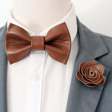 bronze brown mens groomsmen leather bow tie set, bowtie and lapel flower, rose gold boutonniere, sitck pin, boho wedding style