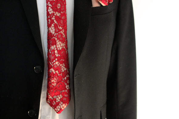 vine red, burgundy lace on bronze satin necktie set, mens necktie maroon wedding neck tie