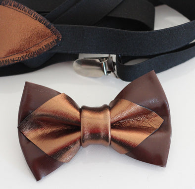 bronze brown mens groomsmen bow tie set, bowtie and lapel flower, rose gold boutonniere, sitck pin, boho wedding style