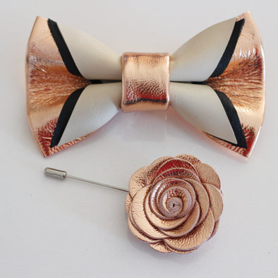 rose gold mens groomsmen leather bow tie set, white black bowtie and lapel flower, rose gold boutonniere, sitck pin, boho wedding style