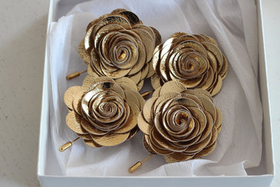 gold leather boutonniere flower wedding lapel pin