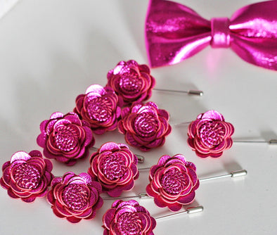 Fuchsia violet hot pinkrose flower pin, boutonniere for groomsmen men, boys violet prom lapel corsage, lapel flower pin, corsage, wedding boutonniere, boho grooms formal attire suit, genuine leather toddler bowtie, fuchsia color, suspenders set, Nevestica nevestisa design