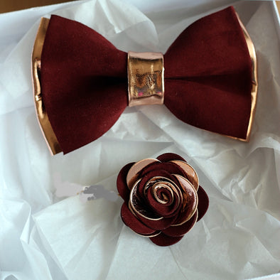 rose gold and burgundy mens wedding prom bow tie lapel flower Nevestica  set