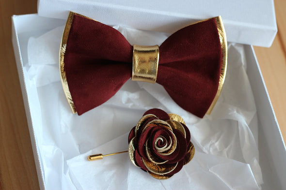 burgundy vine red classic Gold leather bow tie lapel flower wedding prom groomsmen groom formal attire set