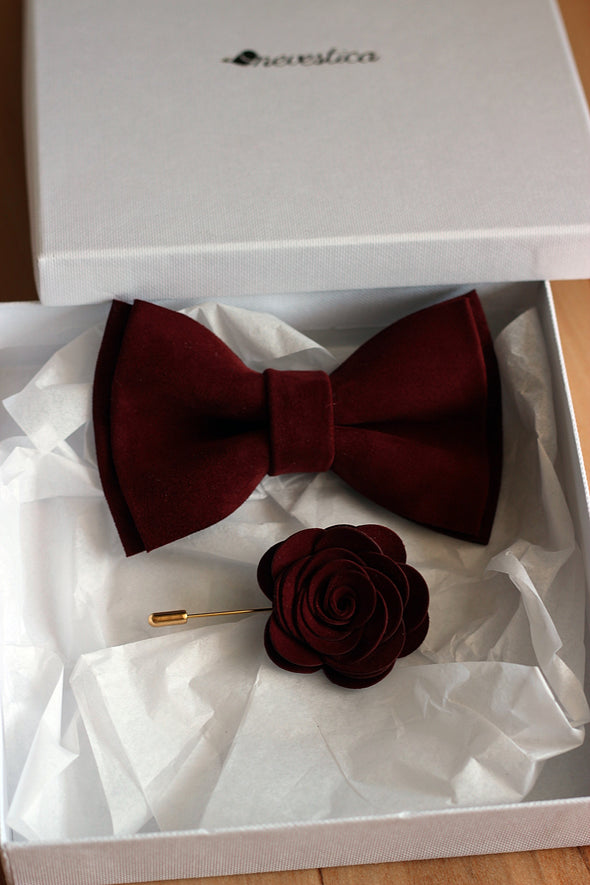 solid burgundy bowtie mens wedding bow tie and boutonniere set boys prom set groomsmen gift