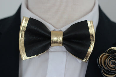 black and gold bow tie boutonniere pocket sqare set for weddnign, prom, Nevestica