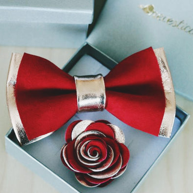 Crimson Red suede and rose gold leather mens bow tie
