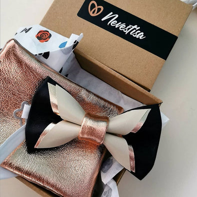 black bow tie set, rose gold and black mens groomsmen bow tie, pocket sqare gift set