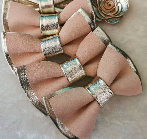 Champagne pastel light coral pink boho mens bow tie set
