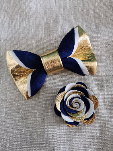 Gold royal navy blue mens bowtie, lapel flower pin, boutonniere set, wedding groomsman, groomsmen gift set, gold suspeders