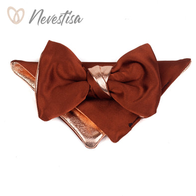 Brown satin leather mens bow tie set, wedding rose gold groomsmen gift, brown rust rustic formal attire bowtie set, prom, fall rose gold set fall wedding rustic wedding boho wedding