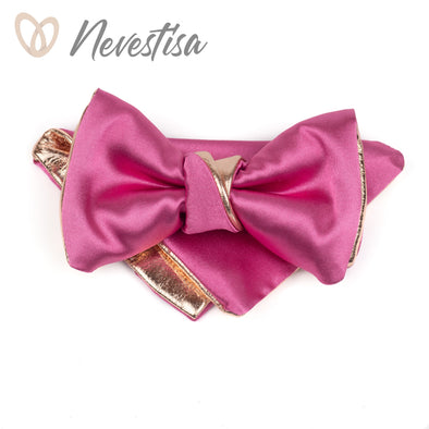 Mens copper bow tie set, hot pink bow tie for men,rose gold wedding set, dusty rose blush nude pink satin genuine groomsmen bowtie, prom boys nevestica nevestisa