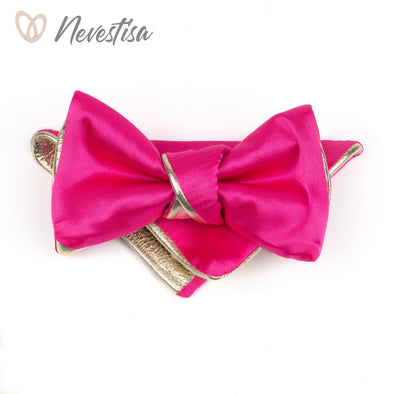 Mens bow tie set, hot vibrant pink bow tie for men,rose gold wedding set neon raspberry pink satin genuine groomsne bowtie prom boys fuchsia