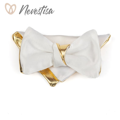 Gold bow tie for men, white satin wedding bow tie groomsmen gift set, formal leather bowtie, white satin prettied bow tie, boys gold bow tie