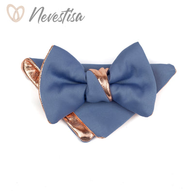 Rose Gold french classic blue satin bow tie for men,boys dusty light blue,rose gold wedding bow tie,wedding formal attire, groomsmen gift prom gold