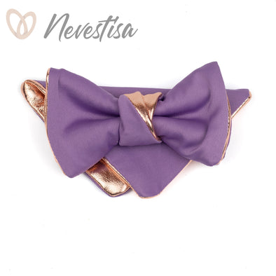 Rustic lilac, lavender satin Mens bow tie gift set prom, rose gold lavender wedding mens formal attire set, tuxedo prettied gold bow tie set, boho wedding ideas, rose gold wedding combination, nevestica nevestisa design