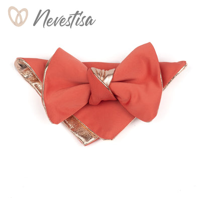 Living Coral satin pink bow tie set for men, groomsmen gold wedding formal attire, color ideas for coral, prettied gold bowtie set boys prom set, living coral idea, Nevestica Nevestisa design