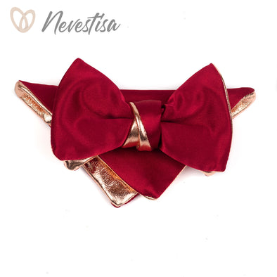 Rose Gold and burgundy satin leather bow tie for men rose gold wedding bow tie,maroon wedding burgundy, groom genuine rose prom boys bow, nevestisa nevestica