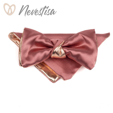 Mens copper bow tie set, bronze bow tie for men,rose gold wedding set, dusty rose blush nude pink satin genuine groomsmen bowtie, prom, boys nevestica nevestisa