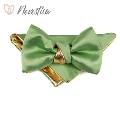 Chartreuse chamomile green satin Gold mens leather bow tie for men, dusty shale wedding bow tie, green formal groomsmen gift sea foam boy