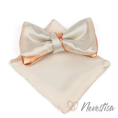 copper bow tie for men, white satin wedding bow tie groomsmen gift set, formal bowtie, white satin prettied bow tie, boys bronze bow tie
