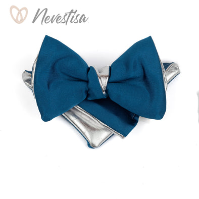 Mens silver and classic blue bow tie set, groomsmen formal attire set, wedding gift, boys prom bow tie, formal attire, blue bow tie and pocket sqare set,