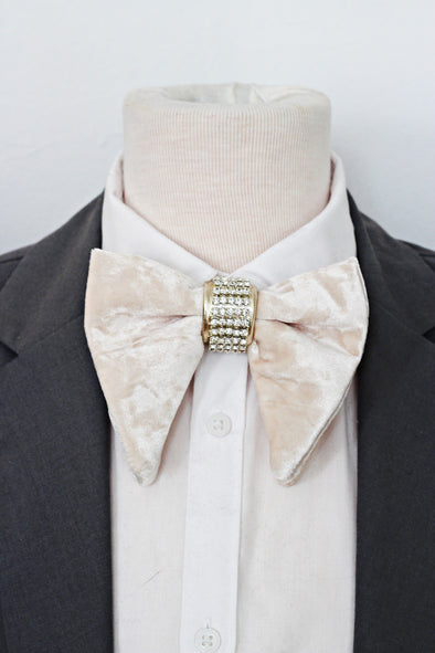 oversized ivory velvet gold crystals grooms mens bow tie wedding bouotnniere lapel flower set