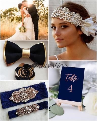 Navy blue and gold men groomsmen groom boy wedding prom bow tie set color palette board idea