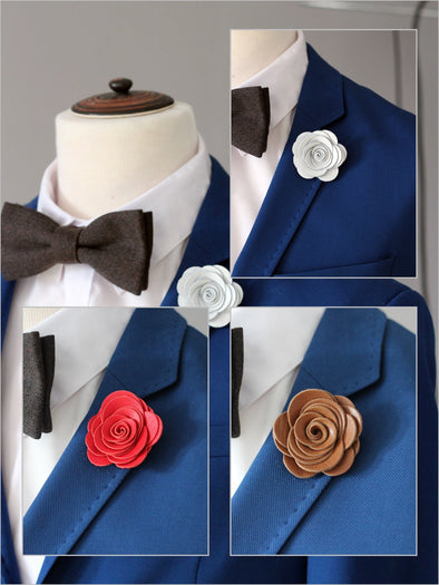 White rose flower pin, boutonniere for groomsmen men, boys brown prom lapel corsage, lapel flower pin, corsage, wedding boutonniere, boho grooms formal attire suit, genuine redleather toddler bowtie, red suspenders set, Nevestica nevestisa design