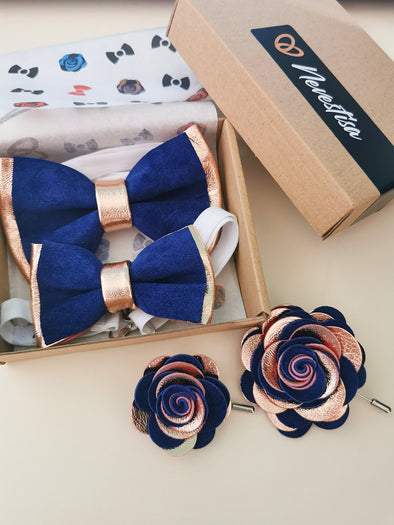 royal navy blue mens bowtie set, rose gold copper bow tie combination, lapel flower pin, boutonniere, wedding grooms, groomsman, attire